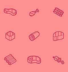 meat color outline isometric icons vector image