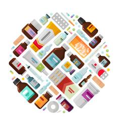 Medicine concept drug medication bottles vector