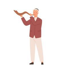 modern jewish man playing shofar flat vector image