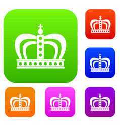 Monarchy crown set color collection vector