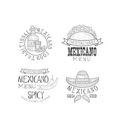 monochrome mexican logos for restaurants original vector image