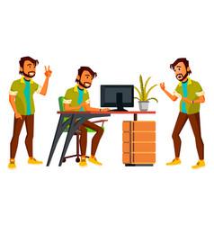 Office indian worker emotions gestures vector