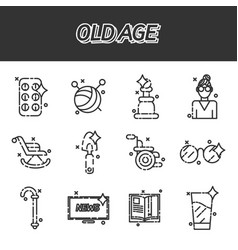 old age flat concept icons vector image