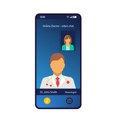 Online doctor consultation smartphone interface vector
