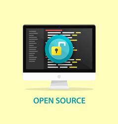 open source code computer programming vector image vector image