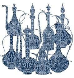 Oriental patterned jugs blue vector