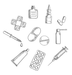 Pills drugs and medical icons sketches vector