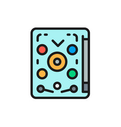 Pinball playing machine game flat color line vector