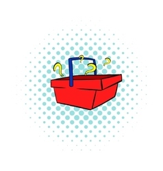 Question in shopping basket icon comics style vector image