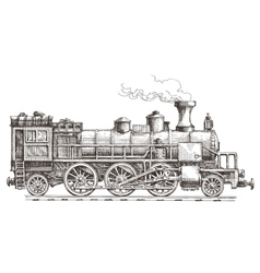 retro steam locomotive logo design template vector image