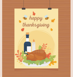 roasted turkey wine candle foliage hanging happy vector image