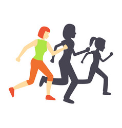 running race woman and shadow vector image