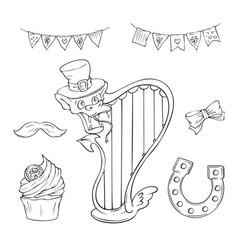 saint patrick s day holiday set cute cartoon vector image