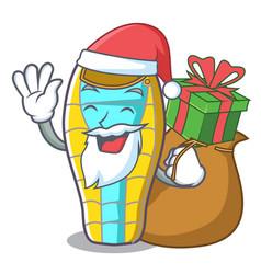 Santa with gift sleeping bad mascot cartoon vector