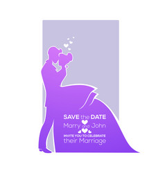 save date bride and groom silhouette wedding vector image