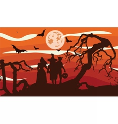 Scarecrows silhouette at sunset vector