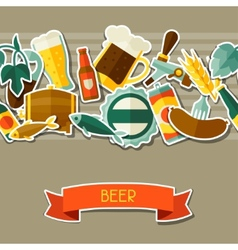 Seamless pattern with beer sticker icons and vector