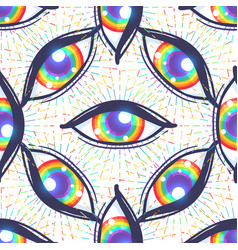 Seamless pattern with rainbow colored eyes flag vector