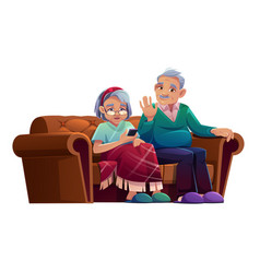 senior man and woman talking mobile phone vector image