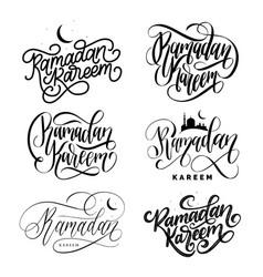 set handwritten phrases ramadan kareem vector image