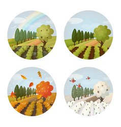 set of isolated farm or field garden at seasons vector image