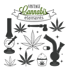 Set of medical cannabis elements vector