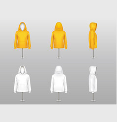 Set of realistic hoodies on mannequins vector