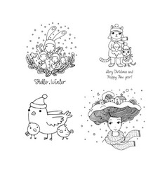 Set with winter pictures vector