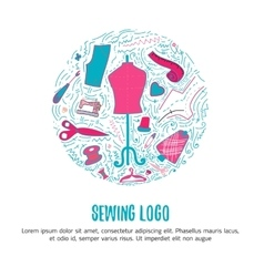 Sewing logo for hand made products for sewing vector