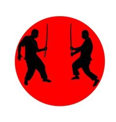 silhouette japanese ninja vector image
