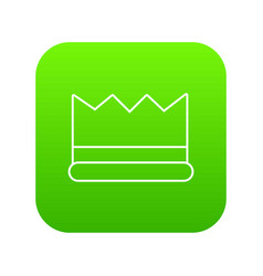 Silver crown icon green vector