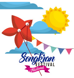 Songkran festival thailand red kite flying garland vector