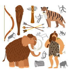 stone age neanderthal caveman icons vector image