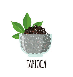 Tapioca icon with cassava leaf in flat style vector