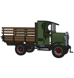The vintage green truck vector