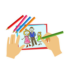 two hands coloring with pencil a coloring book vector image vector image