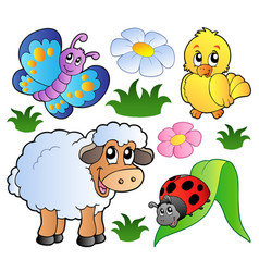 Various happy spring animals vector