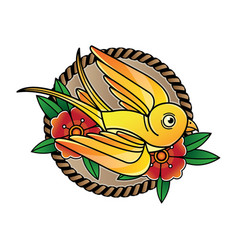 vintage bird flash tattoo vector image