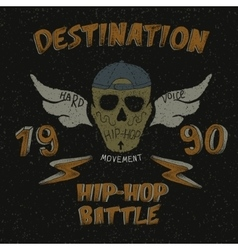 Vintage label with skull for hip-hop design vector image
