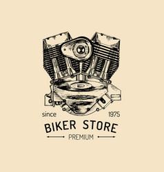 Vintage motorcycle repair logo with engine vector