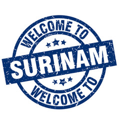 Welcome to surinam blue stamp vector