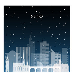winter night in brno night city in flat style vector image
