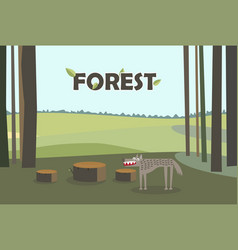 wolf in forest tree stumps cartoon with vector image