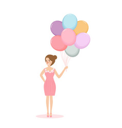 Young woman girl holding balloon concept of vector