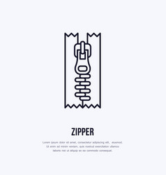 Zipper flat line icon zip fastener sign thin vector