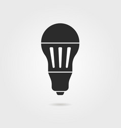black led bulb icon with shadow vector image vector image