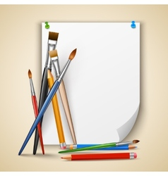 Paint brush and paper vector image