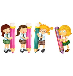 Students and pencils vector image vector image