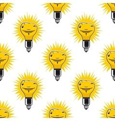 Bright cartoon light bulbs seamless pattern vector image vector image
