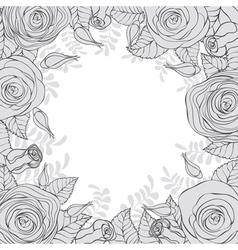 Monochrome frame of flowers vector image